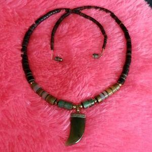 1960's JADE JADITE Surfer hippie TRIBAL necklace